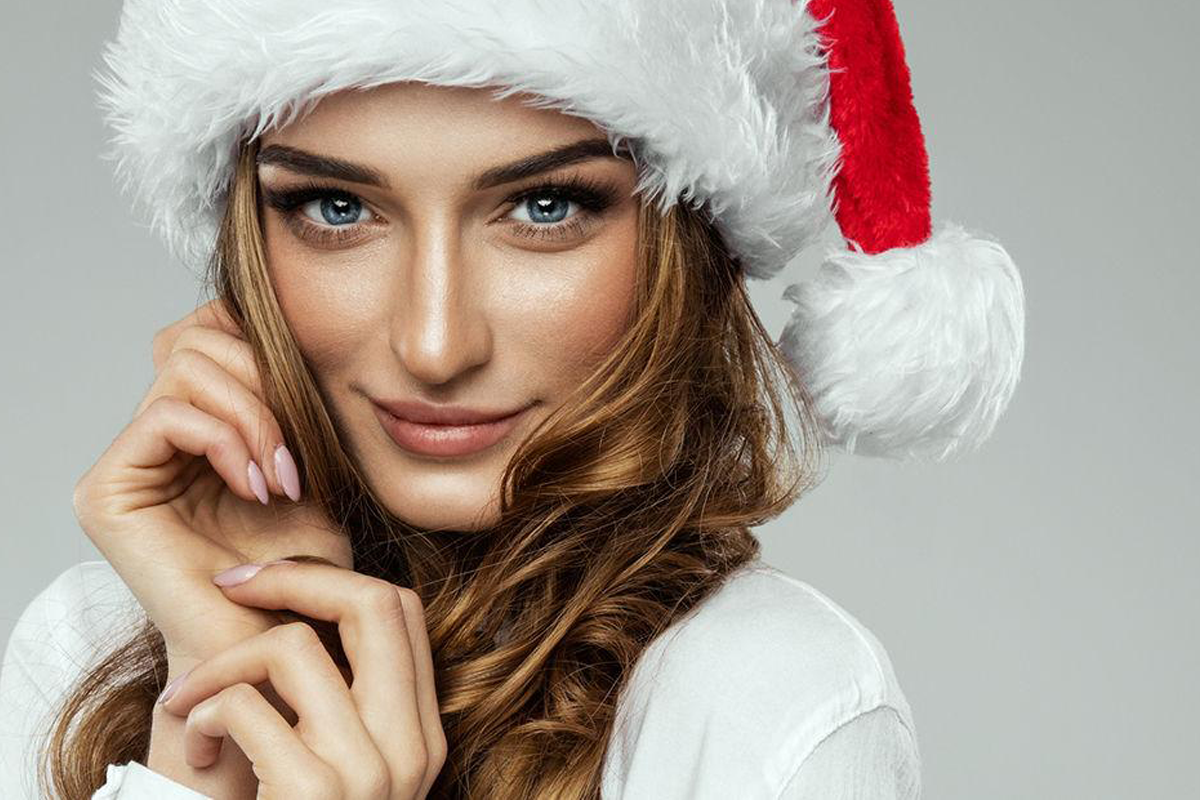 Woman in Christmas Hat